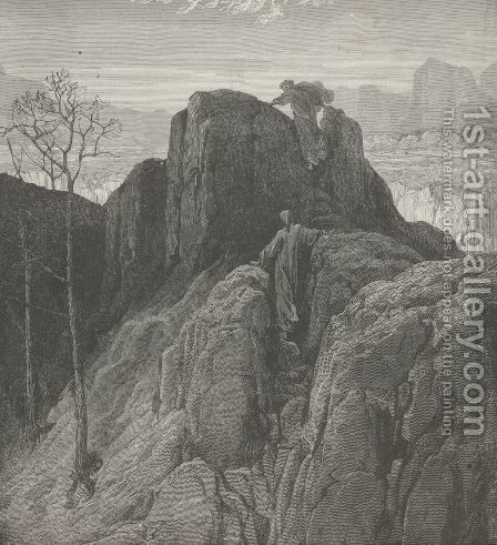 We through the broken rock ascended, (Canto IV., line 33) by Gustave Dore - Reproduction Oil Painting