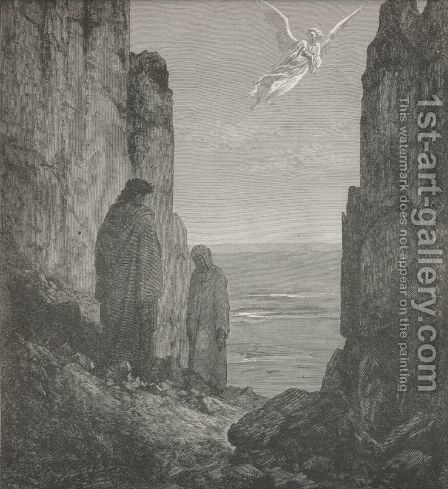 while th' angelic shape A little over us his station took.   (Canto XIX., lines 56-57) by Gustave Dore - Reproduction Oil Painting