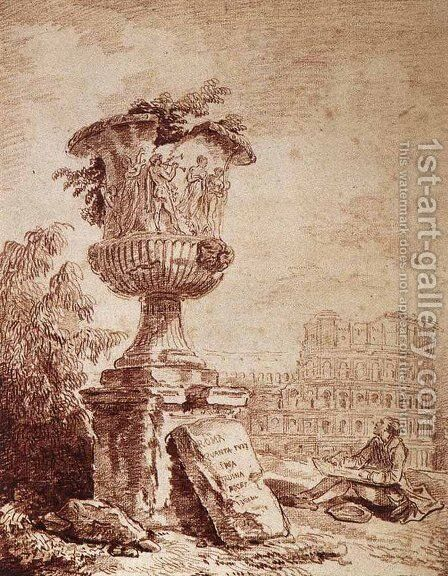 The Draughtsman of the Borghese Vase by Hubert Robert - Reproduction Oil Painting
