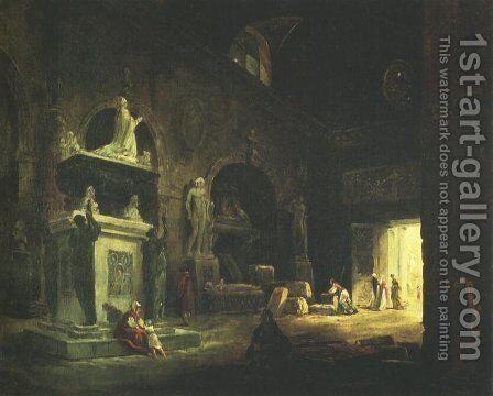 View of a Room in the Musée des Monuments Français by Hubert Robert - Reproduction Oil Painting