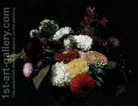 Dahlias 2 by Ignace Henri Jean Fantin-Latour - Reproduction Oil Painting
