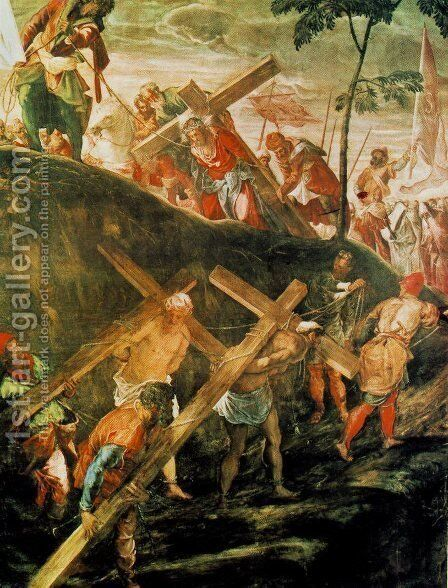 The Ascent to Calvary by Jacopo Tintoretto (Robusti) - Reproduction Oil Painting