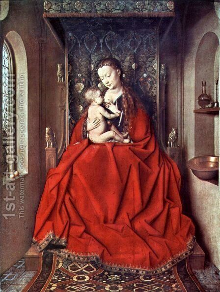 Suckling Madonna Enthroned by Jan Van Eyck - Reproduction Oil Painting