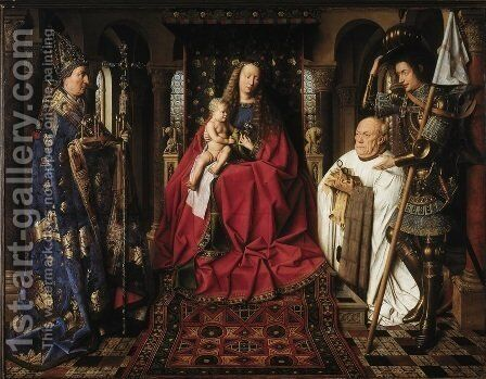The Madonna with Canon van der Paele by Jan Van Eyck - Reproduction Oil Painting