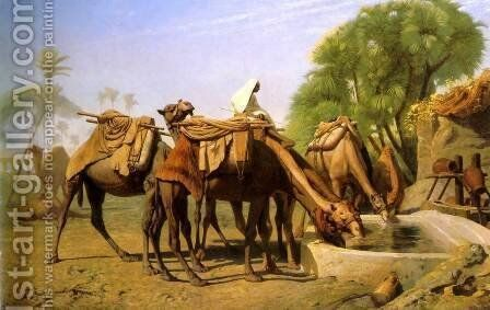 Camels at the Trough by Jean-Léon Gérôme - Reproduction Oil Painting