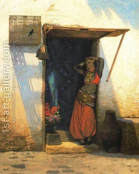 Woman of Cairo at her Door by Jean-Léon Gérôme - Reproduction Oil Painting