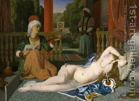 Odalisque with a Slave by Jean Auguste Dominique Ingres - Reproduction Oil Painting