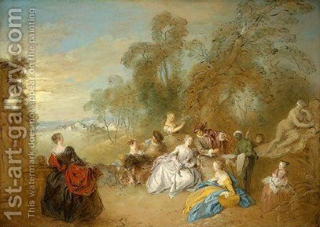 On the Terrace by Jean-Baptiste Joseph Pater - Reproduction Oil Painting