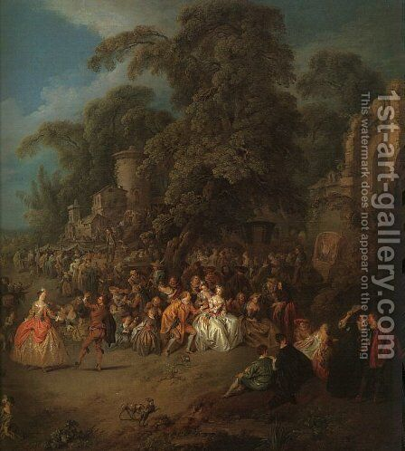 The Fair at Bezons by Jean-Baptiste Joseph Pater - Reproduction Oil Painting