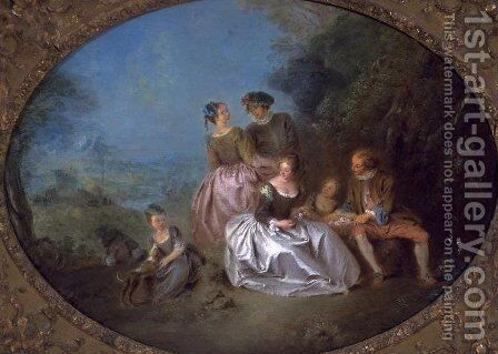 The Offer of Flowers by Jean-Baptiste Joseph Pater - Reproduction Oil Painting