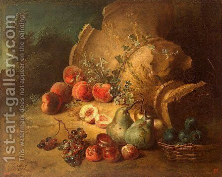 Still life with Fruit  by Jean-Baptiste Oudry - Reproduction Oil Painting