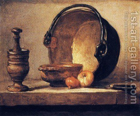Still Life with Pestle, Bowl, Copper Cauldron, Onions and a Knife by Jean-Baptiste-Simeon Chardin - Reproduction Oil Painting