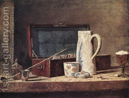 Still-Life with Pipe and Jug by Jean-Baptiste-Simeon Chardin - Reproduction Oil Painting