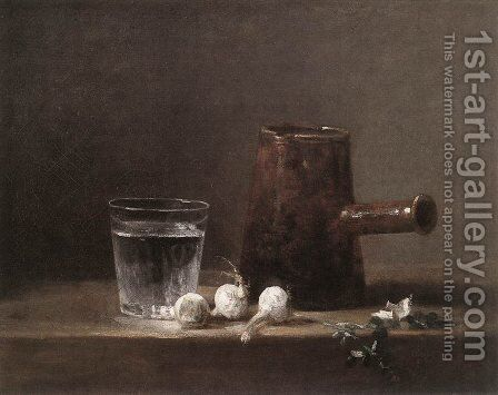 Water Glass and Jug by Jean-Baptiste-Simeon Chardin - Reproduction Oil Painting