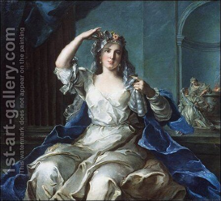 Portrait of a Lady as a Vestal Virgin by Jean-Marc Nattier - Reproduction Oil Painting