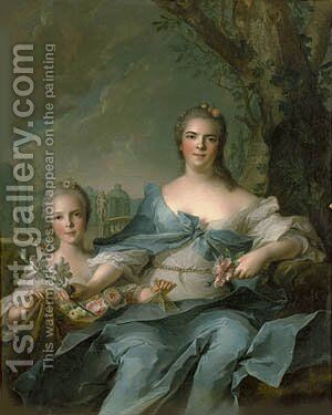 The Duchess of Parma and her daughter Isabelle by Jean-Marc Nattier - Reproduction Oil Painting