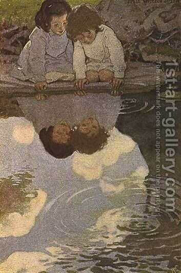 Looking-Glass River by Jessie Wilcox-Smith - Reproduction Oil Painting