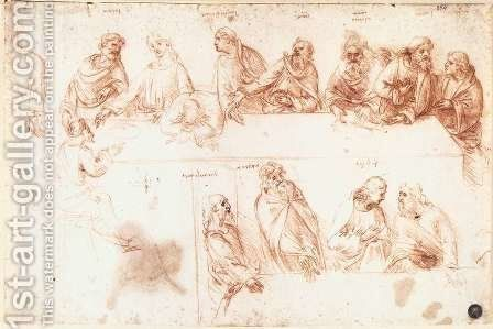 Study for the Last Supper 3 by Leonardo Da Vinci - Reproduction Oil Painting