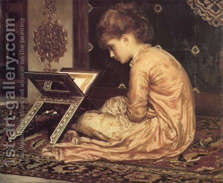 Study: At a Reading Desk by Lord Frederick Leighton - Reproduction Oil Painting