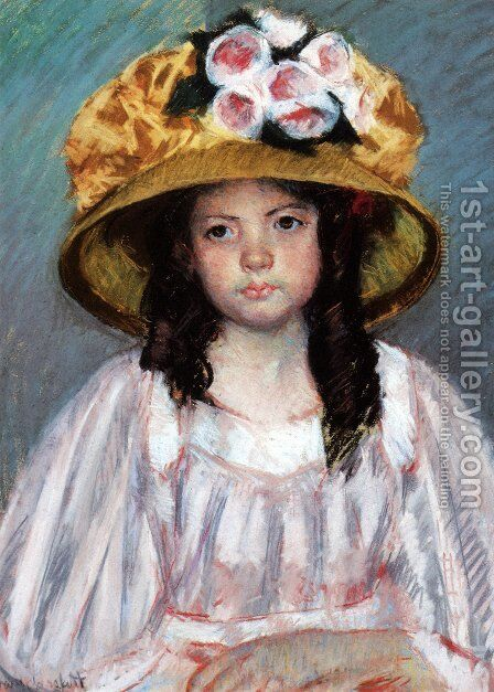 Girl in a Large Hat by Mary Cassatt - Reproduction Oil Painting