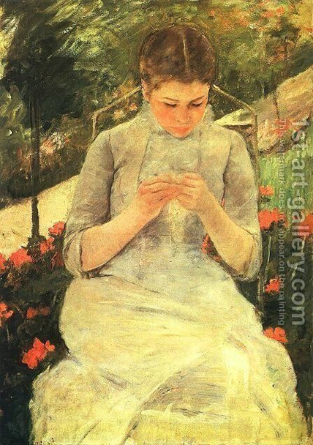 Girl Sewing by Mary Cassatt - Reproduction Oil Painting