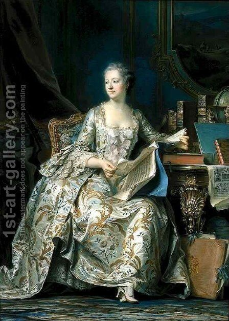 Portrait of the Marquise de Pompadour by Maurice Quentin de La Tour - Reproduction Oil Painting