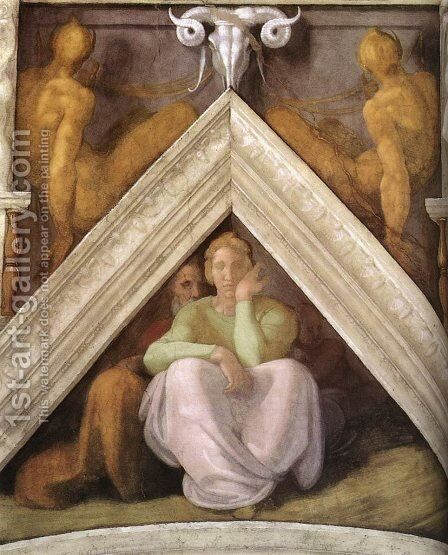 Ancestors of Christ - Jesse with his parents by Michelangelo - Reproduction Oil Painting