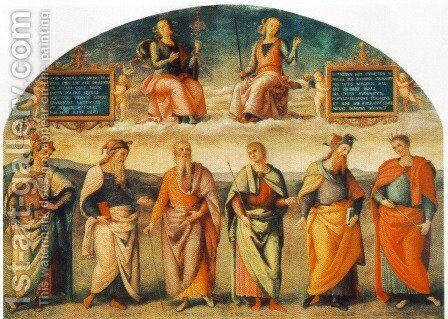 Prudence and Justice with Six Antique Wisemen by Pietro Vannucci Perugino - Reproduction Oil Painting