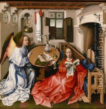 Mérode Altarpiece - Central Panel by Robert Campin - Reproduction Oil Painting