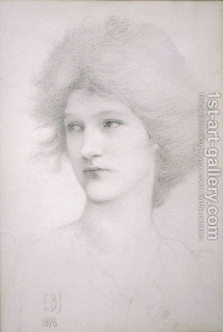 Study for the Queen in Death of Arthur by Sir Edward Coley Burne-Jones - Reproduction Oil Painting