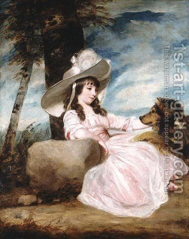 Miss Anna Ward with Her Dog by Sir Joshua Reynolds - Reproduction Oil Painting