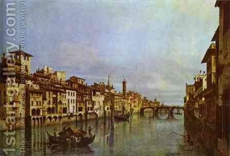 Arno in Florence by Bernardo Bellotto (Canaletto) - Reproduction Oil Painting