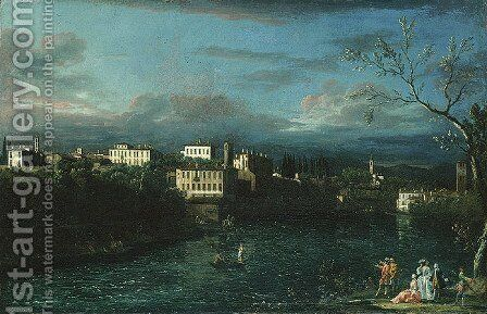 Vaprio d'Adda by Bernardo Bellotto (Canaletto) - Reproduction Oil Painting