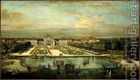 Nymphenburg Palace, Munich by Bernardo Bellotto (Canaletto) - Reproduction Oil Painting