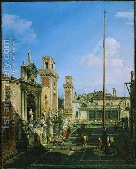 The Arsenal, Venice by Bernardo Bellotto (Canaletto) - Reproduction Oil Painting