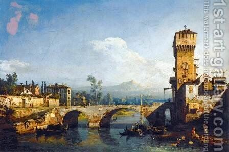 Capriccio Padovano by Bernardo Bellotto (Canaletto) - Reproduction Oil Painting