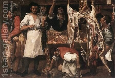 The Butcher's Shop by Annibale Carracci - Reproduction Oil Painting