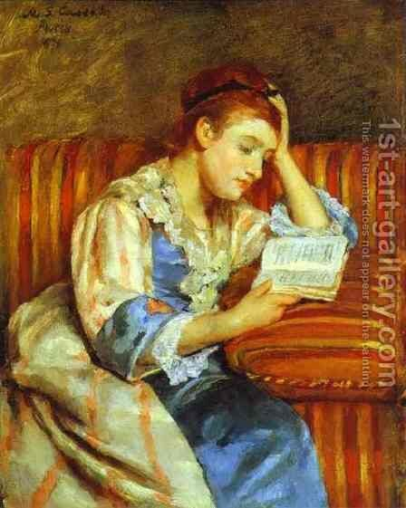 Young Woman Reading by Mary Cassatt - Reproduction Oil Painting