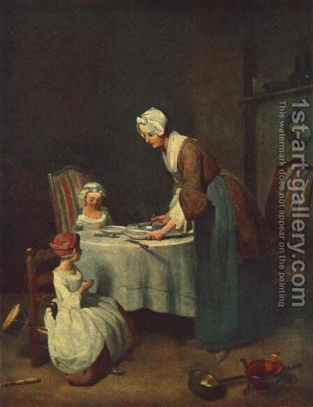 Prayer before the Meal by Jean-Baptiste-Simeon Chardin - Reproduction Oil Painting