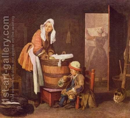 The Laundress by Jean-Baptiste-Simeon Chardin - Reproduction Oil Painting