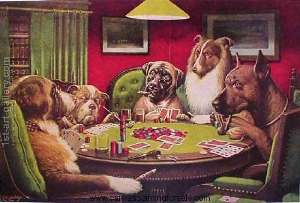 Dogs Playing Poker Painting by Cassius Marcellus Coolidge Reproduction    1st Art Gallery