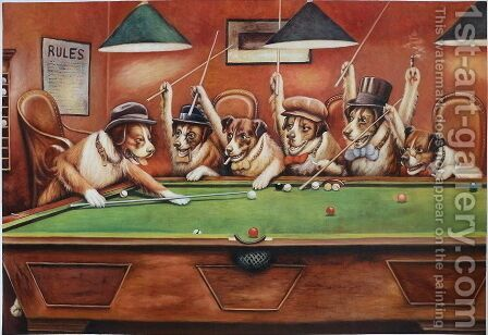 Dogs Playing Pool by Cassius Marcellus Coolidge - Reproduction Oil Painting