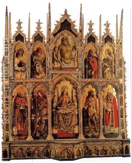 Polyptych of Monte San Martino by Carlo Crivelli - Reproduction Oil Painting