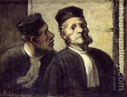 The Two Lawyers by Honoré Daumier - Reproduction Oil Painting