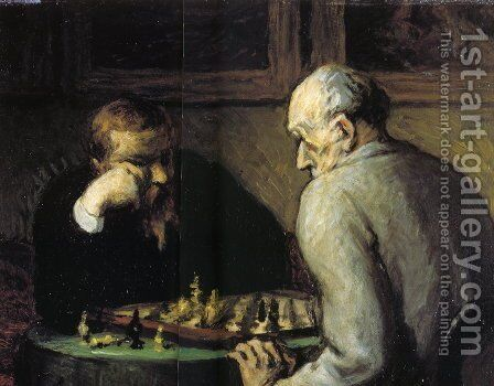 The Chess Players by Honoré Daumier - Reproduction Oil Painting