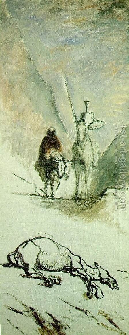 Don Quixote and the Dead Mule by Honoré Daumier - Reproduction Oil Painting