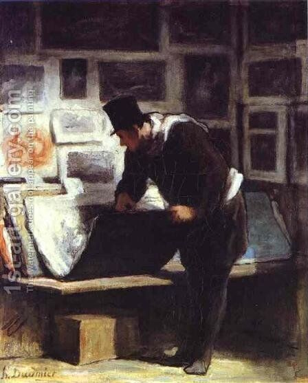 The Collector of Engravings by Honoré Daumier - Reproduction Oil Painting