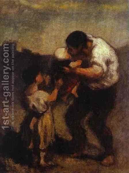 The Kiss by Honoré Daumier - Reproduction Oil Painting