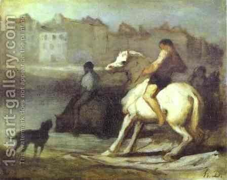 The Horses Drink by Honoré Daumier - Reproduction Oil Painting