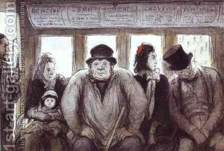 In the Omnibus by Honoré Daumier - Reproduction Oil Painting